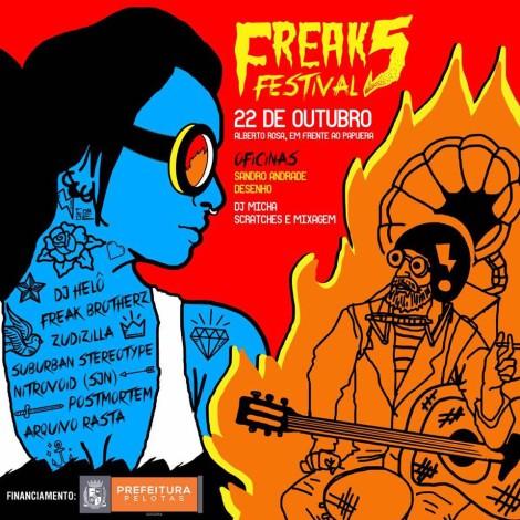 Freak Festival 5 apresenta oficinas e shows gratuitos de rock, rap e reggae no dia 22/10, emPelotas