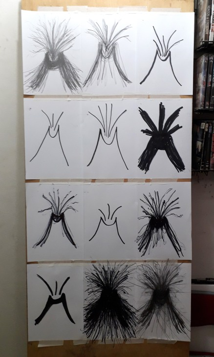Muitos desenhos de vulcões